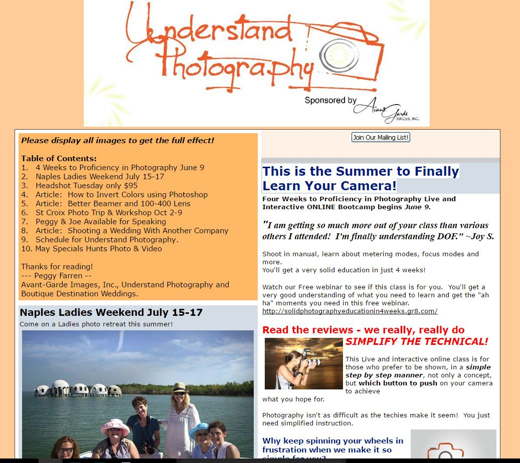 Understand Photography With Peggy Farren May 2016